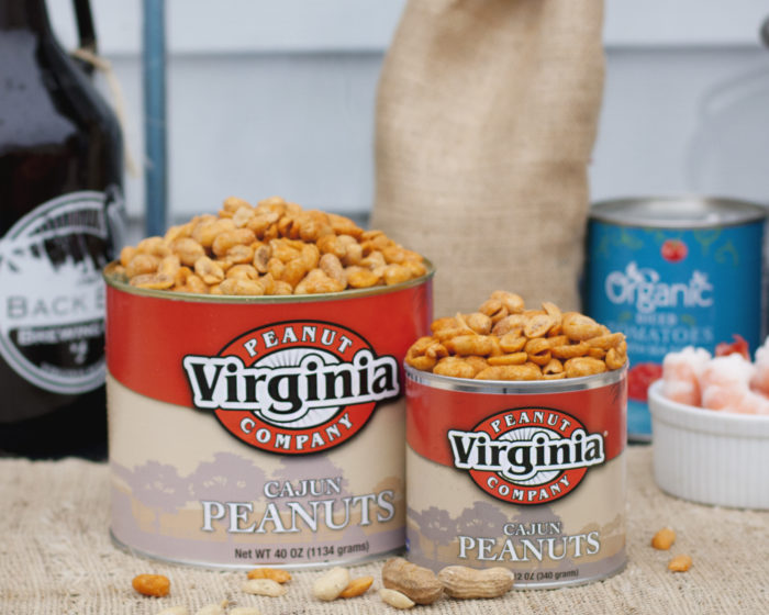 Cans of jumbo seasoned Cajun peanuts