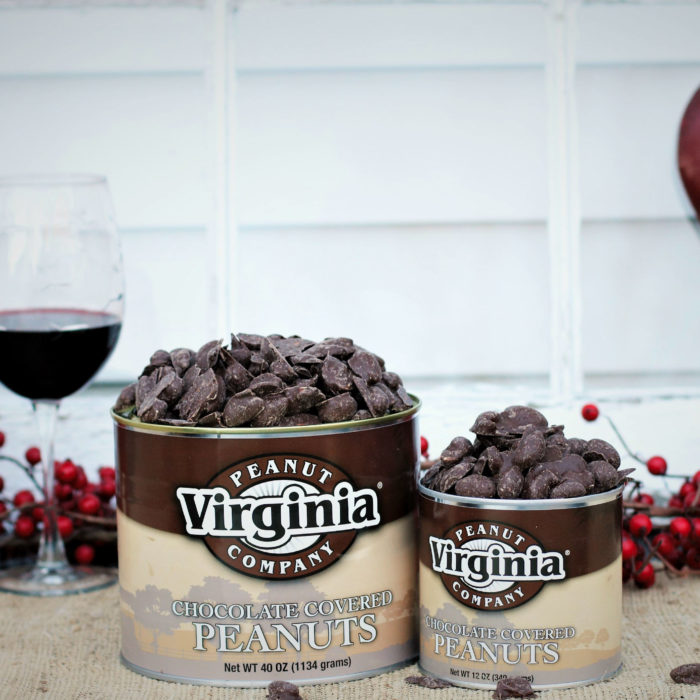 Cans of sweet chocolate-covered peanuts with red wine
