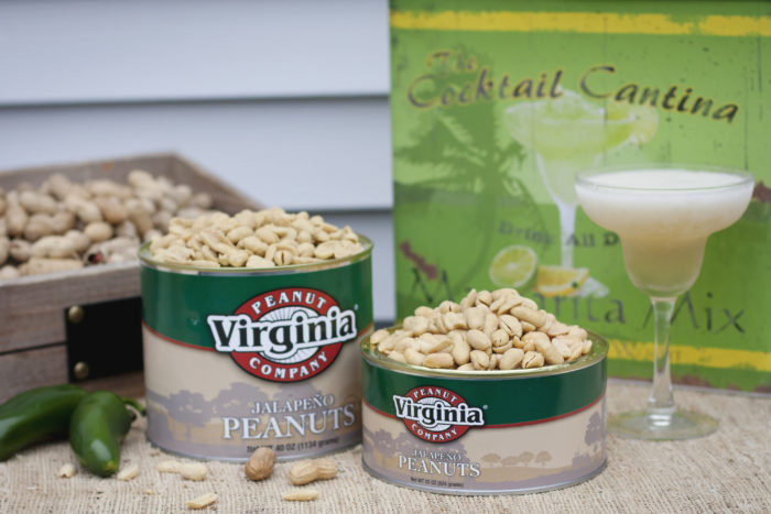 Cans of jumbo seasoned jalapeno peanuts with margaritas