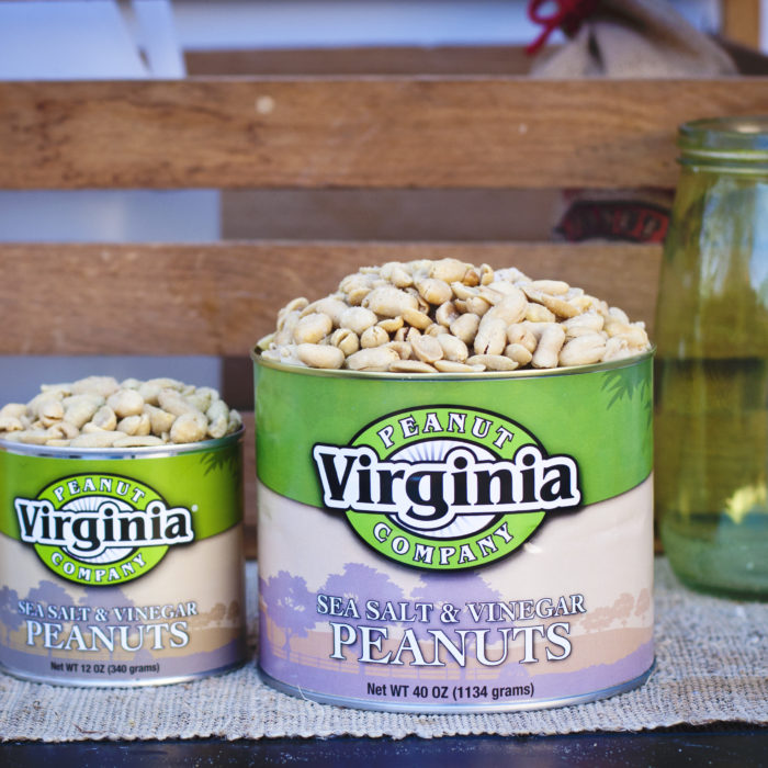 Cans of jumbo seasoned sea salt and vinegar peanuts