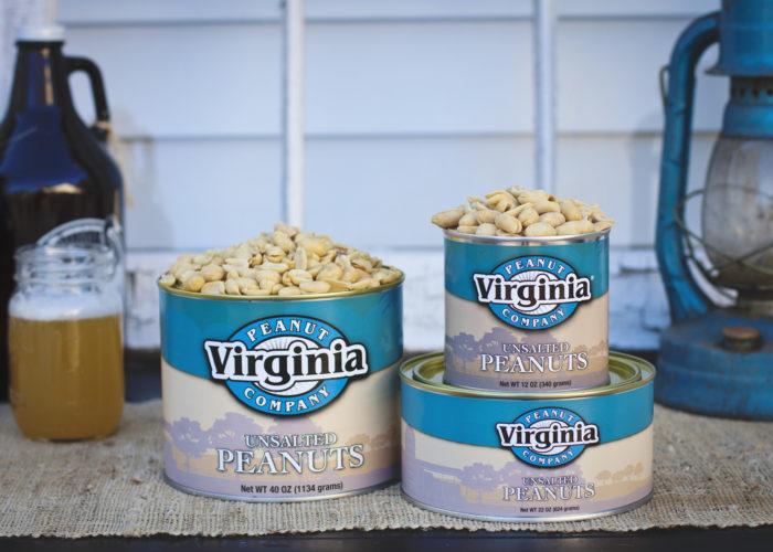 Can of jumbo unsalted peanuts from Virginia Peanut Company