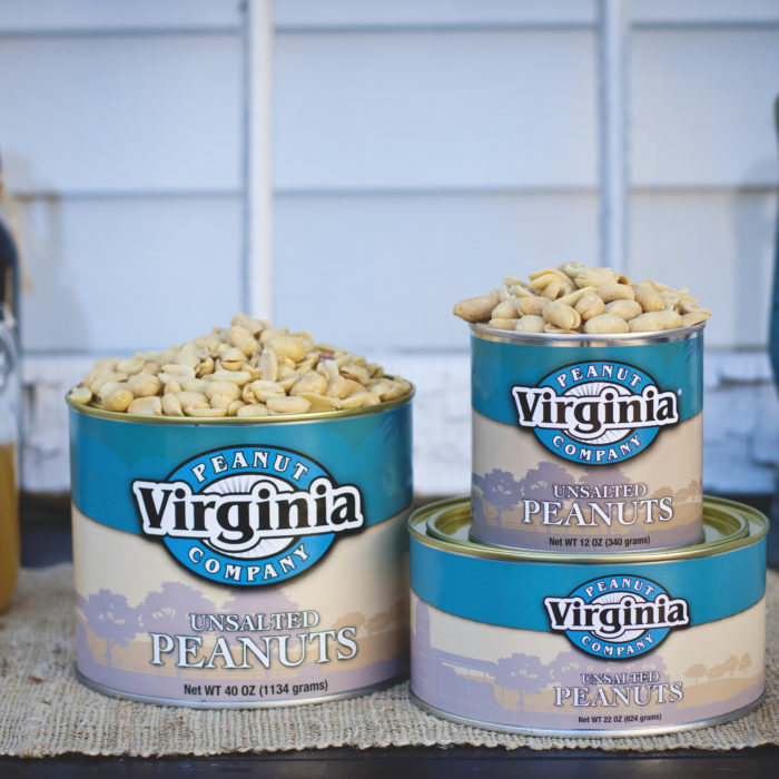 Can of jumbo unsalted peanuts from Virginia Peanut Company